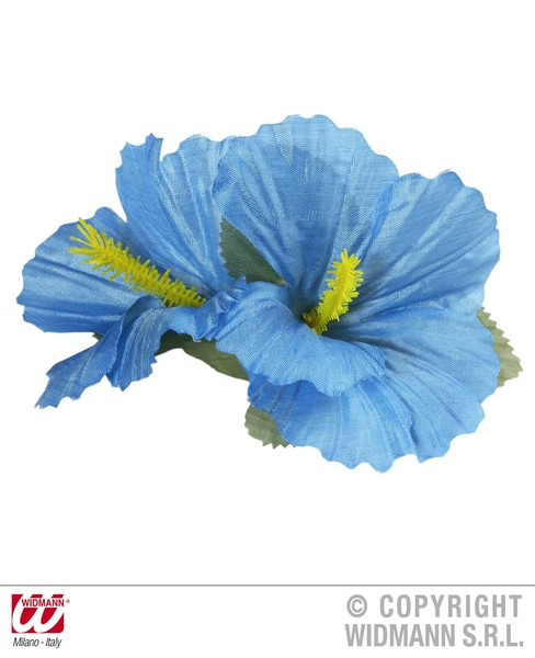 HIBISCUS 2 FLOWER HAIR CLIP - LIGHT BLUE