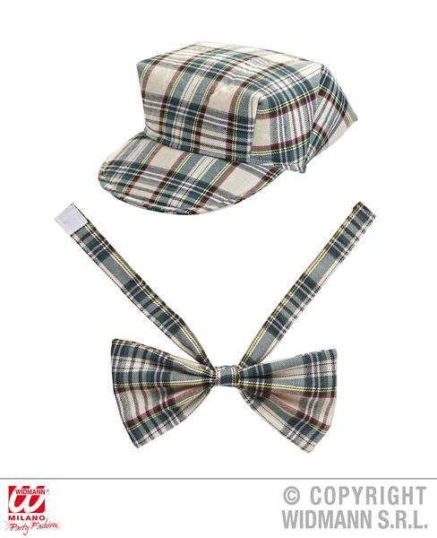 BEIGE TARTAN HAT & BOW TIE