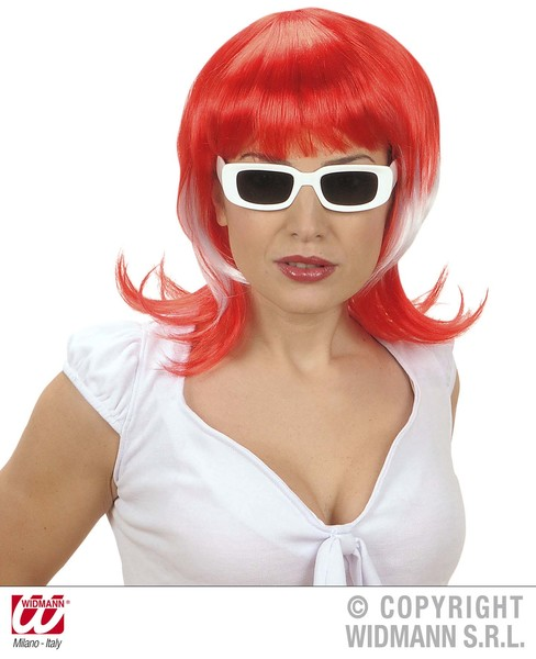SUPPORTER WOMAN WIG - RED WHITE RED