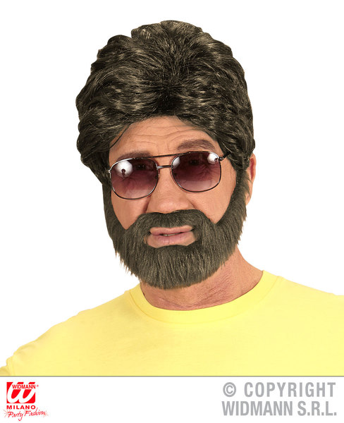 MAN WIG & BEARD in box - BROWN