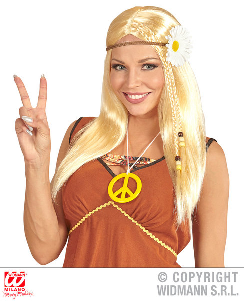 BLONDE HIPPIE WIG WITH DAISY HEADBAND in polybag