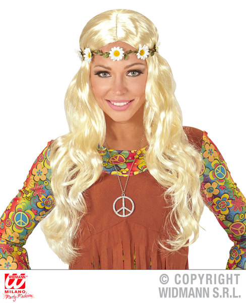 BLONDE HIPPIE / MEDIEVAL WIG WITH DAISY HEADBAND in polybag