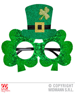 ST. PATRICK'S DAY GLITTER SHAMROCK GLASSES W/MINI TOP HAT