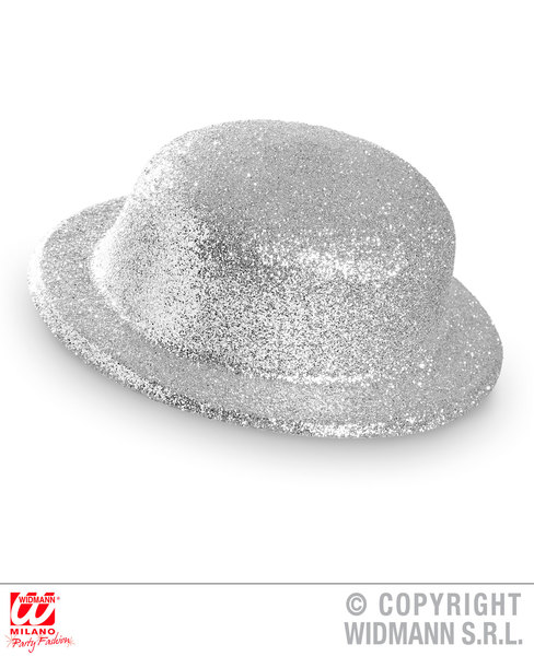 GLITTER BOWLER HAT - SILVER