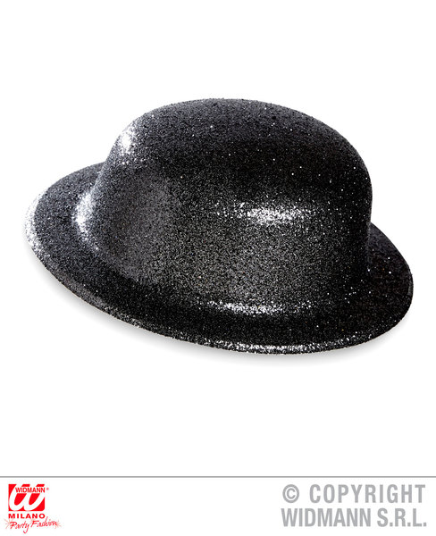 GLITTER BOWLER HAT - BLACK