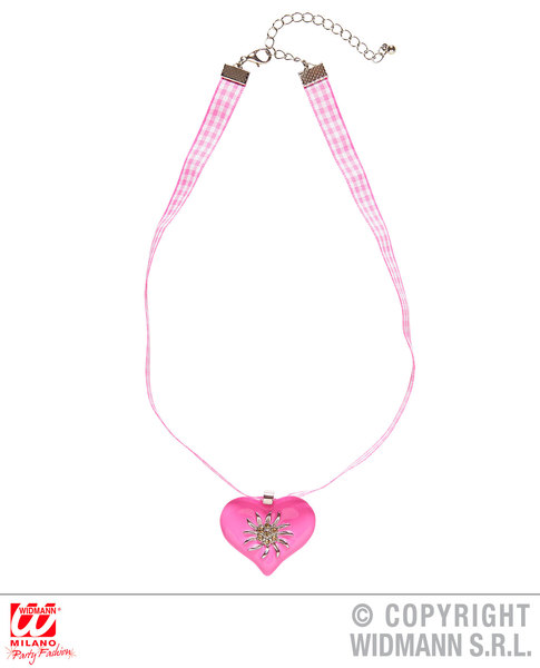 PINK-WHITE CHECKER RIBBON NECKLACE W/STRASS EDELWEISS HEART