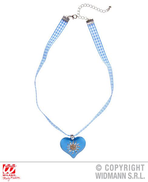 AZURE-WHITE CHECKER RIBBON NECKLACE W/STRASS HEART