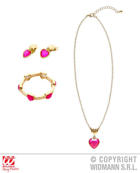 GOLD PINK GEM HEART NECKLACE, EARRINGS & BRACELET