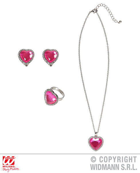 STRASS PINK GEM HEART NECKLACE, EARRINGS & RING