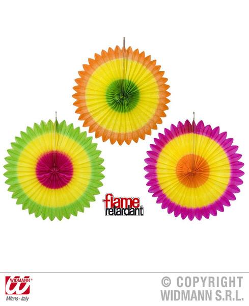 TRICOLOUR PAPER FANS - 3 colours