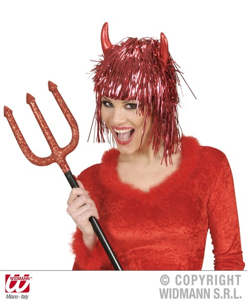 TINSEL DEVIL WIG W/HORNS IN POLYBAG