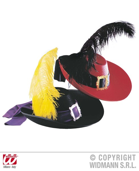 MUSKETEER HAT FELT W/FEATHER