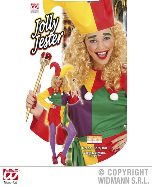 Ladies-Jolly-Jester-Costume-Clown-Big-Top-Circus-Performer-Fancy-Dress-Outfit thumbnail 4