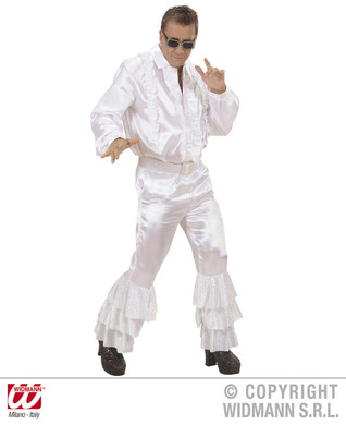 WHITE SATIN PANTS MEN (w/sequin belt)