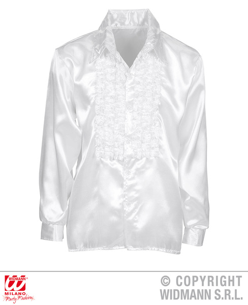 SATIN RUFFLE SHIRT - WHITE