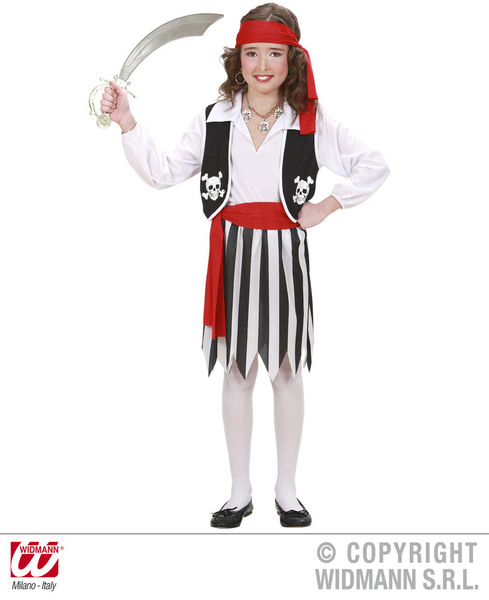 PIRATE GIRL (shirt with vest skirt belt headband) Childrens