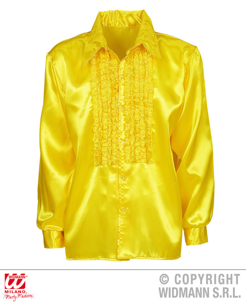 SATIN RUFFLE SHIRT - YELLOW