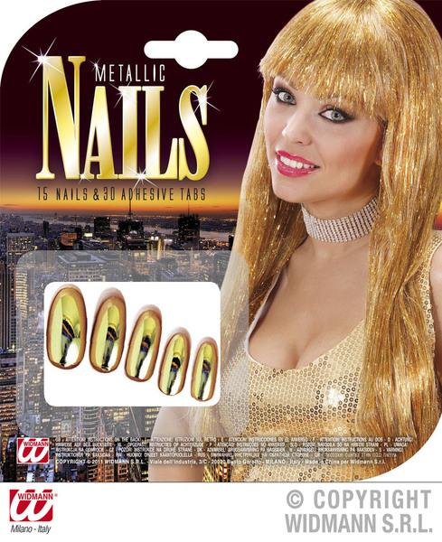 Gold Metallic Nails W/Adhesives Cosmetics