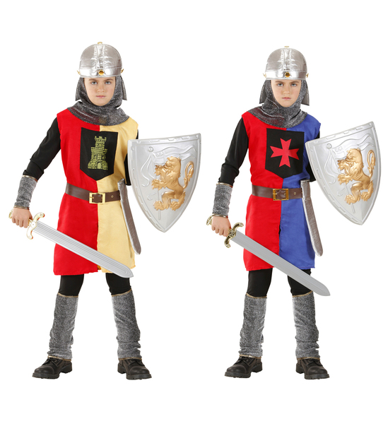 MEDIEVAL WARRIOR 2cols coat belt w/holster helmet Childrens
