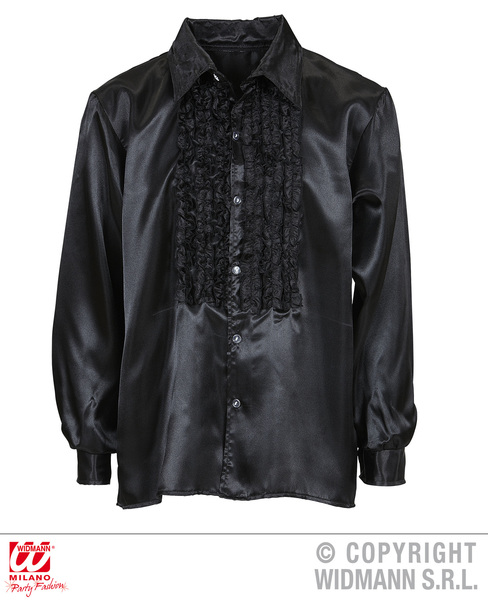 SATIN RUFFLE SHIRT - BLACK