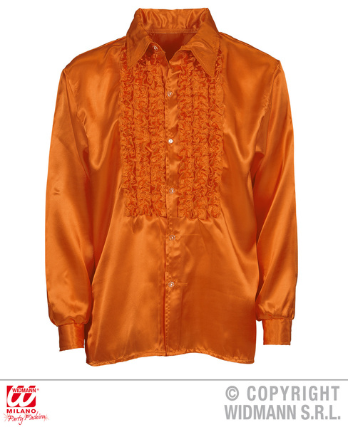 SATIN RUFFLE SHIRT - ORANGE