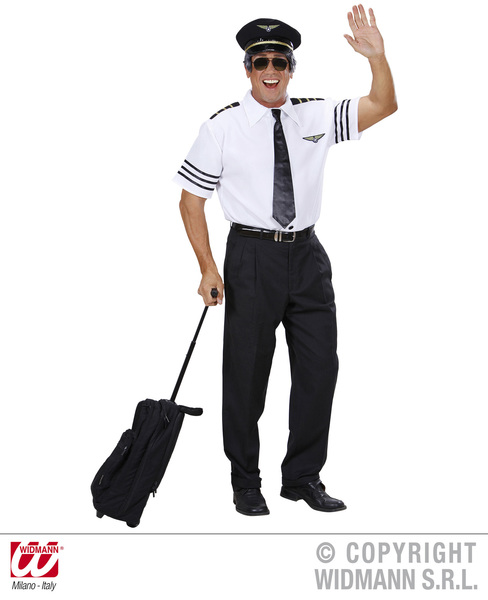 Mens Pilot Costume Outfit for Air Crew Fancy Dress