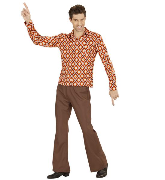 Rhombus Costume 60s 70s Hippie Mod Fancy Dress Mens Groovy 70/'s Man Shirt