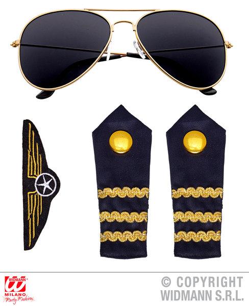 PILOT SET (glasses epaulettes aviator pin)