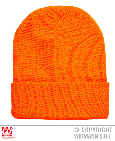 NEON ORANGE BEANIE HAT