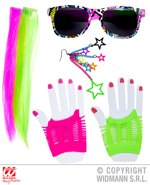 80s GIRL SET (2 neon hair ext earring gloves glasses)