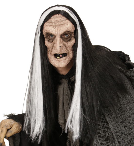 WITCH MASK WITH BLACK & WHITE WIG