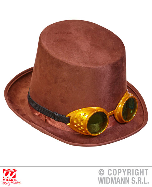 Felt STEAMPUNK TOP HAT WITH GOGGLES