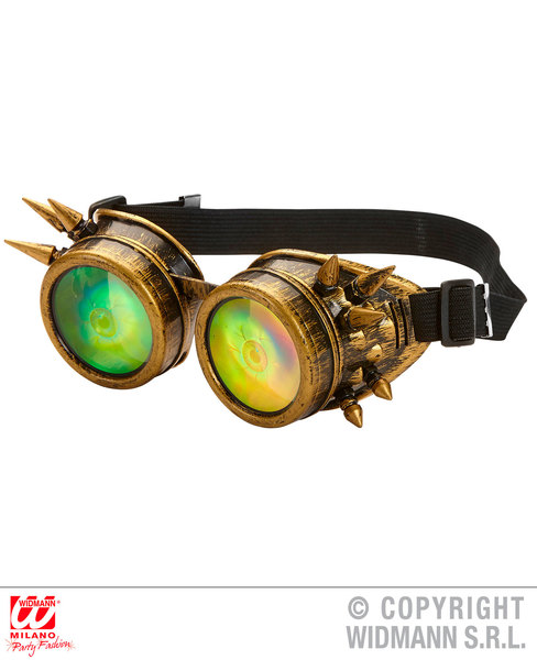 SPIKED STEAMPUNK GOGGLES WITH HOLOGRAPHIC EYES