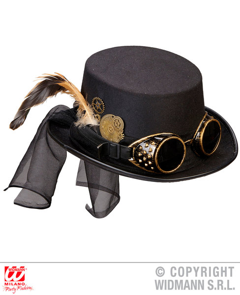 STEAMPUNK TOP HAT WITH GOGGLES & CLOCKWORK DECO
