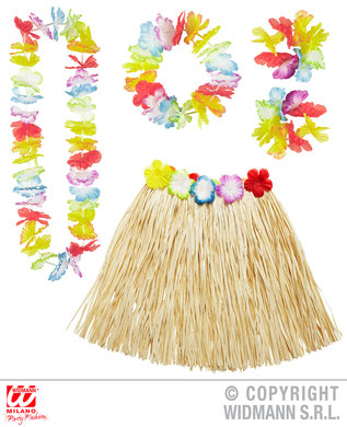 HAWAIIAN SET - MULTI (skirt lei crown 2 bracelets)