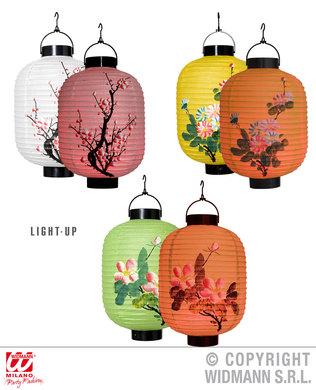 LED LIGHT ORIENTAL LANTERNS (SINGLES) - 3 styles 20cm