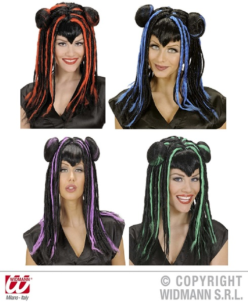 MITSUKO WIG IN POLYBAG - (red/purple/blue/grn)
