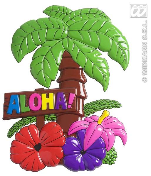 ALOHA PALM TREES W/HIBISCUS FLOWERS