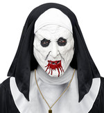 HORROR NUN HALF-FACE MASK w/HAT