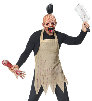 HORROR BUTCHER (full head mask w/ hair, apron)