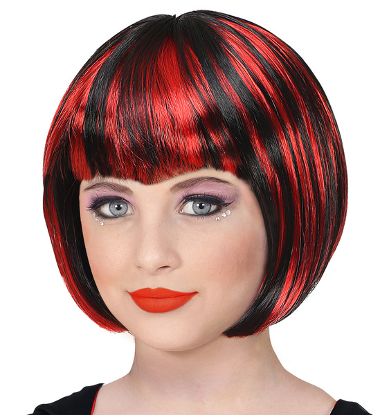 RED AND BLACK HALLOWEEN WIG (in polybag)