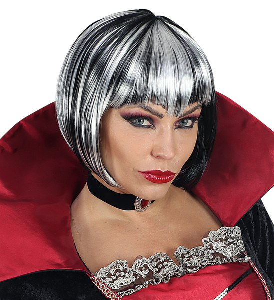 BLACK AND WHITE HALLOWEEN WIG - ADULT(in polybag)