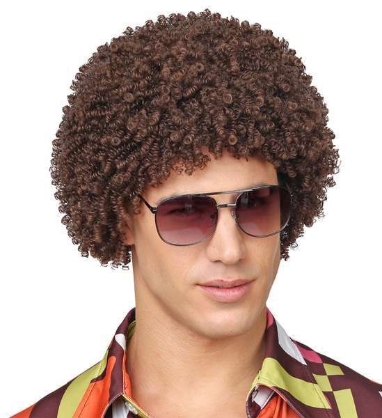 BROWN 70s DISCO WIG (in polybag)