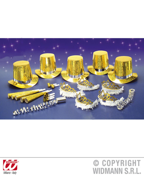 LAS VEGAS PARTY KIT 10 PERSON - HOLOG. GOLD