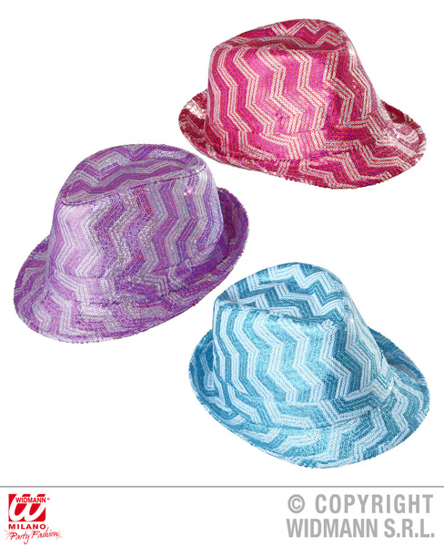 ZIG ZAG SEQUINNED FEDORA (pink/purple/turquoise)