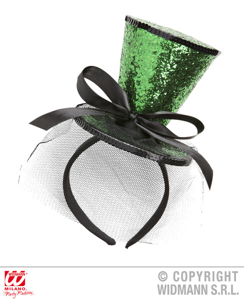 GREEN GLITTER MINI TOP HAT (headband)
