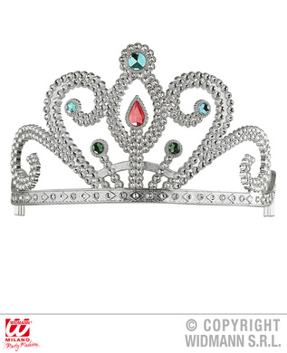 TIARA WITH GEMS - SILVER