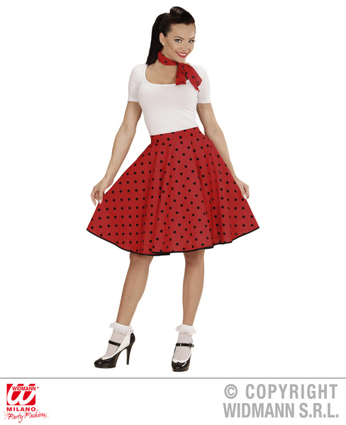 50s POLKA DOT SKIRT / SCARF SET - RED