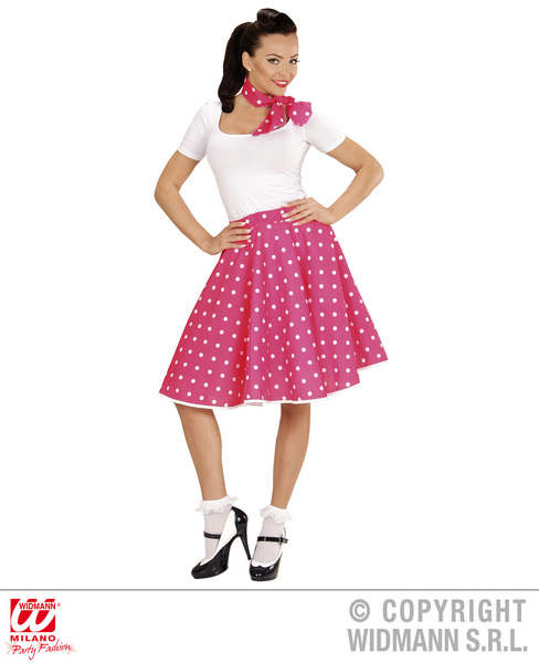 50s POLKA DOT SKIRT / SCARF SET - PINK