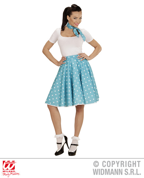 50s POLKA DOT SKIRT / SCARF SET - BLUE